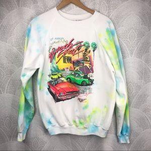 Vintage 1989 Santa Cruz neon tie dye sweatshirt